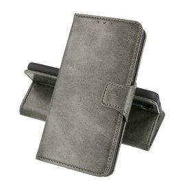 Zakelijke Book Case Telefoonhoesje OnePlus 9R Donker Groen