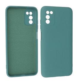 Samsung Galaxy A03s Hoesje Fashion Backcover Telefoonhoesje Donker Groen