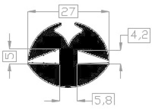 Raamrubber EPDM zwart 4/5