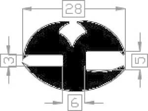 Raamrubber EPDM zwart 3/5