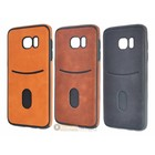 Leather Look Credit Card Pocket Silicone Case Galaxy S7