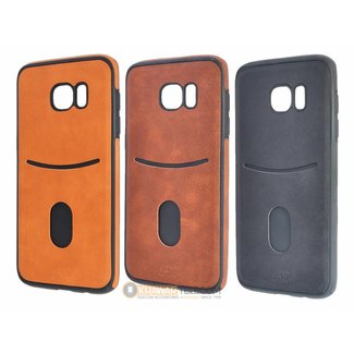 Leather Look Credit Card Pocket Silicone Case Galaxy S7 Edge
