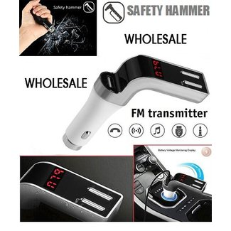 Wireless FM Transmitter Car Kit + Safety Hammer