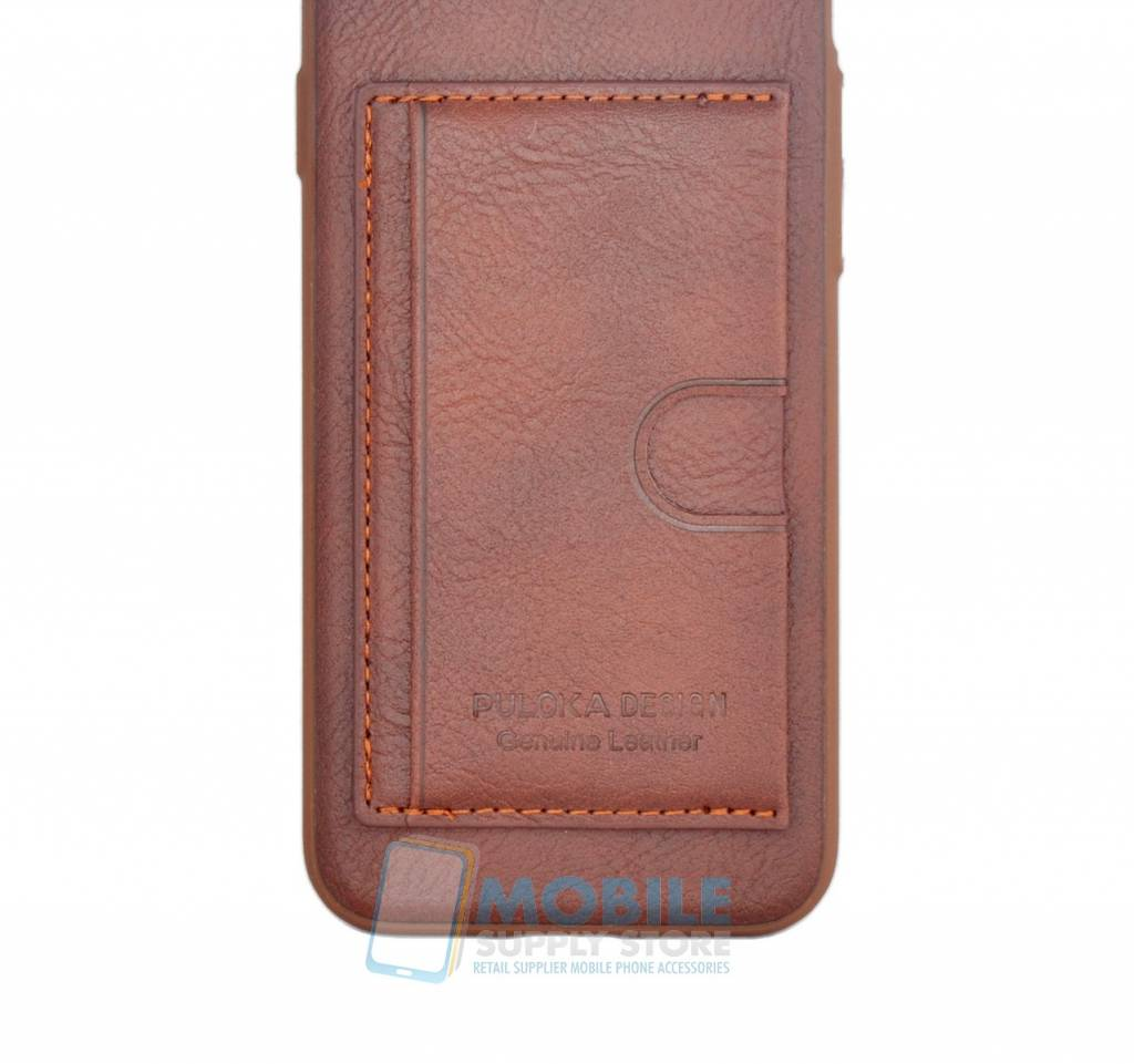 new style af874 e82e2 Puloka Genuine Leather Card Back Cover Galaxy S7 Edge ...