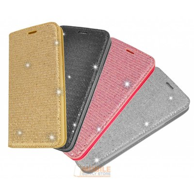 Samsung Galaxy S8 Plus için Lady Glitter Kitap Çantası