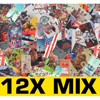12X Mix Print Boek Hoesjes voor Galaxy  Alpha G850