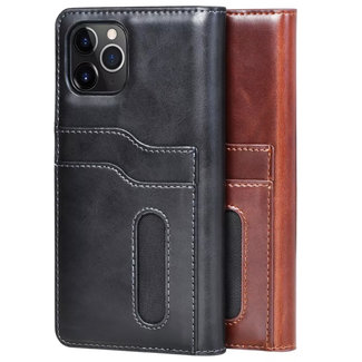 Puloka Puloka Apple iPhone 11 Genuine Leather Afneembaar Magnet Book case