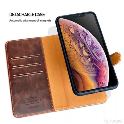 Puloka Puloka Apple iPhone 11 Brown Echtleder Magnet Buch Fall