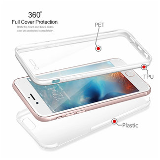 MSS Apple iPhone 7 Plus / 8 Plus Transparant TPU 360° graden TPU siliconen 2 in 1 hoesje