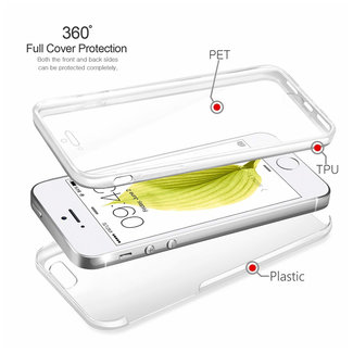 MSS Apple iPhone 5 / 5s / SE Transparent TPU 360 ° degree TPU silicone 2 in 1 case