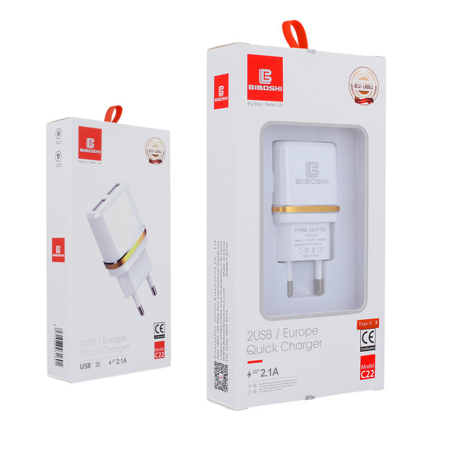 Biboshi Biboshi C22 - 2.1A | 2x USB ports | + IPhone / iPad Cable | + Type C cable | + Micro USB cable