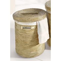 Wäschekorb mit Deckel u. Wäschesack, Seegras