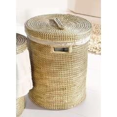 Wäschekorb mit Deckel und Wäschesack, Seegras - groß