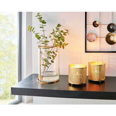 Vase/Windlicht in Metallgestell, goldfarben