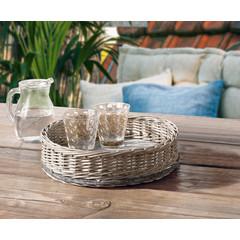 Korb-Tablett mit Holzboden, rund