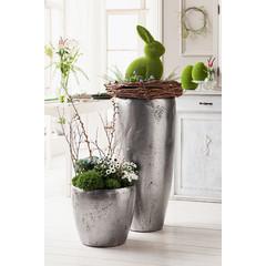 """Übertopf mit Pflanzeinsatz """"Silberglanz"""", H 35 cm"""
