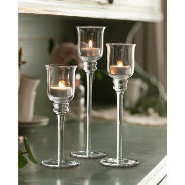 Glas-Kerzenständer, 3er Set