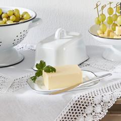 Emaille-Butterdose, weiß