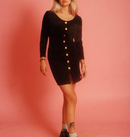 Black 90s button front dress in velvet