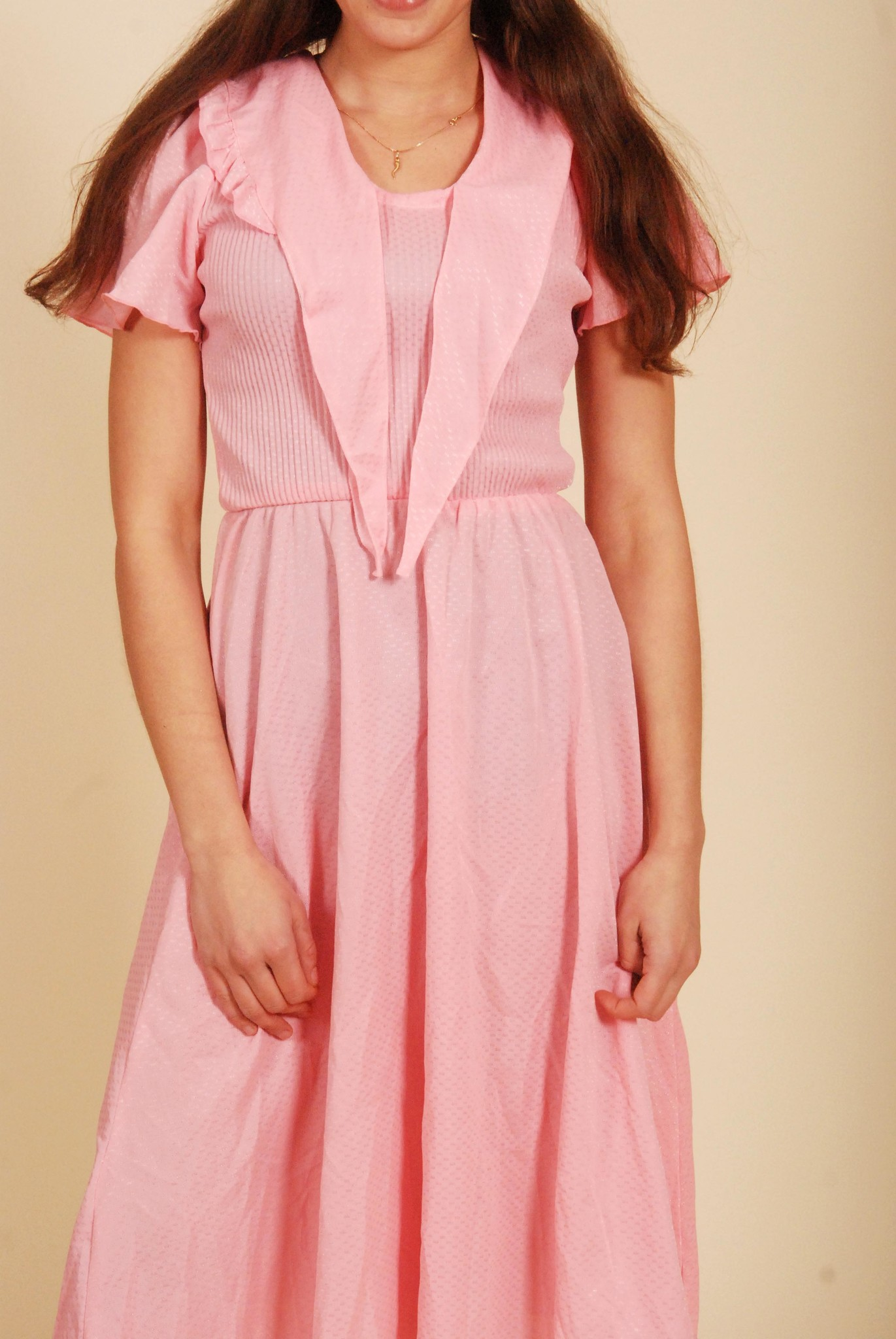 Pink 80s dress with elastic waist