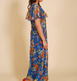 Blue 70s maxi dress with bell sleeves