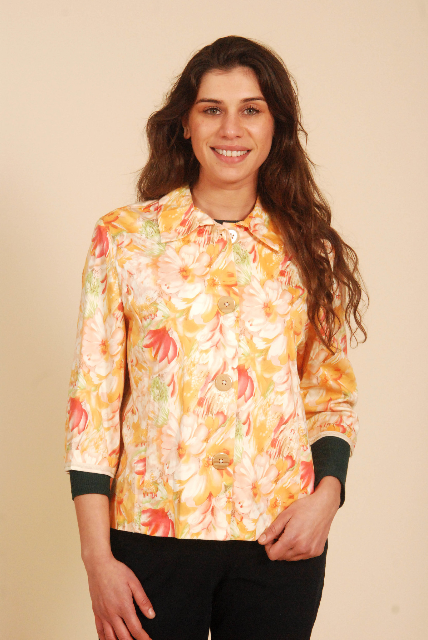 Floral jacket with button front