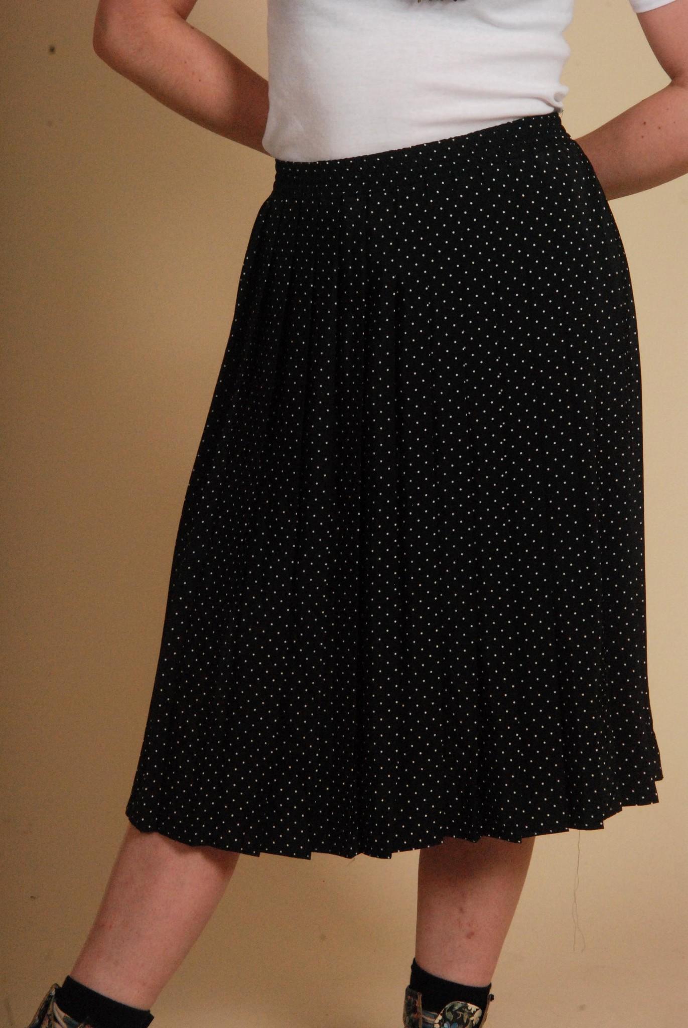 Blue 80s polka dot skirt