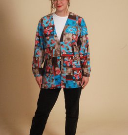 Colorful 80s jacket with button front