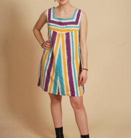 Striped 80s mini dress
