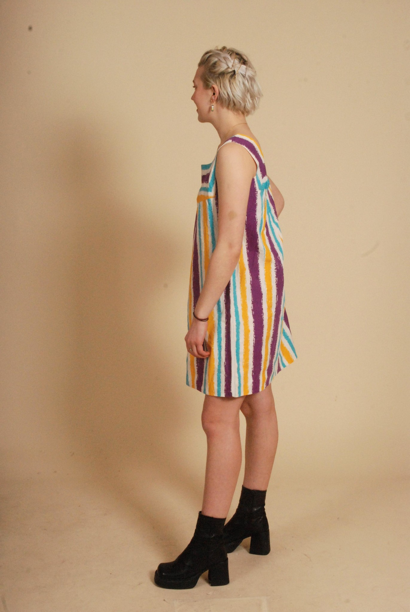 Striped 80s mini dress