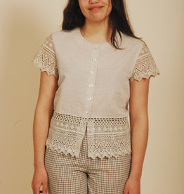 Brown 70s top with button front