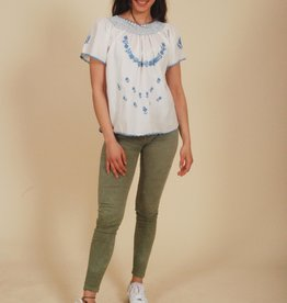 White 70s embroiderd top