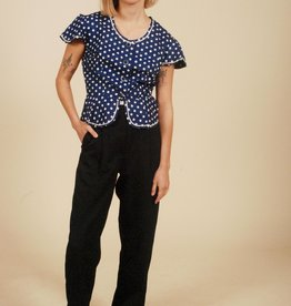 Blue 70s polka dot top