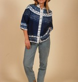 Blue 70s top with button front