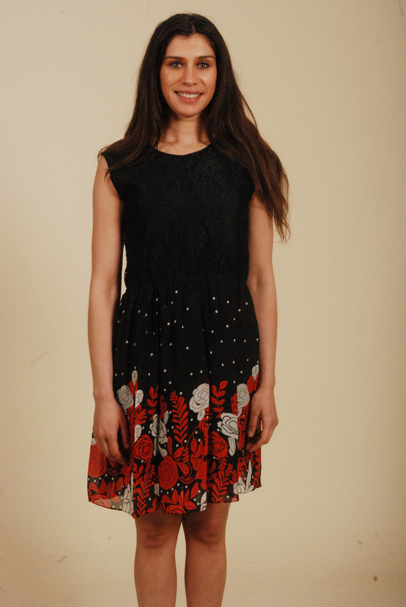 Lace 80s dress with floral print