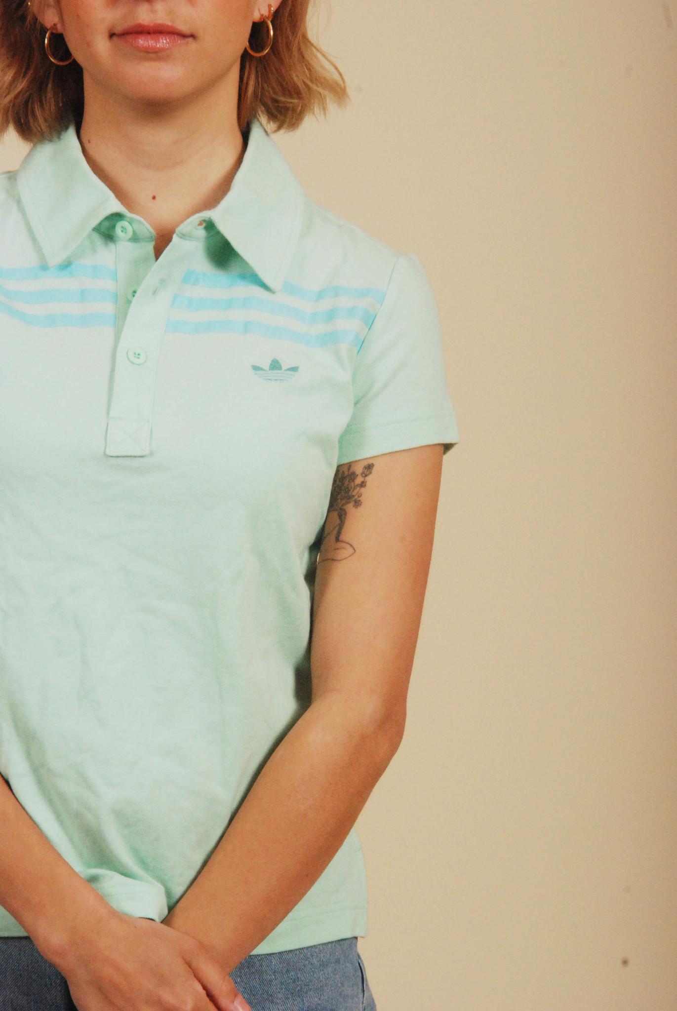 Green 90s Adidas polo shirt