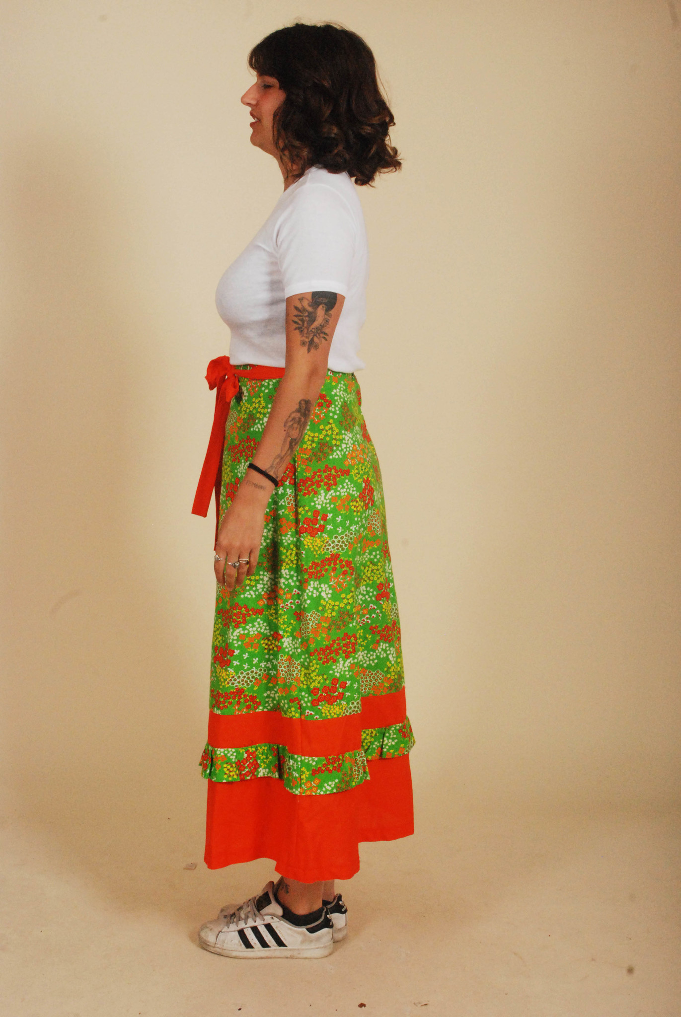 Green 70s floral skirt