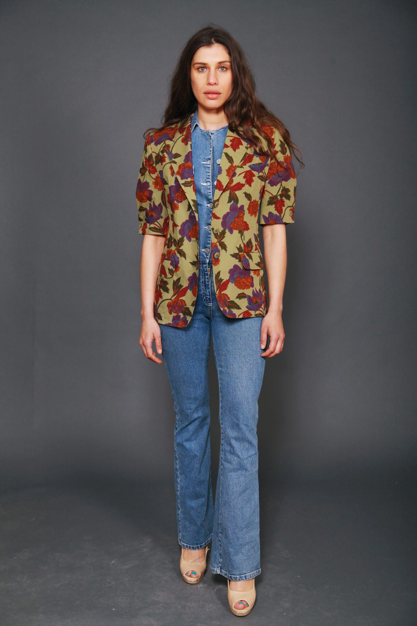 Floral 80s jacket with short sleeves