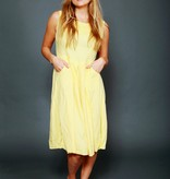Yellow embroidered 80s dress