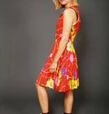 Red 70s floral dress