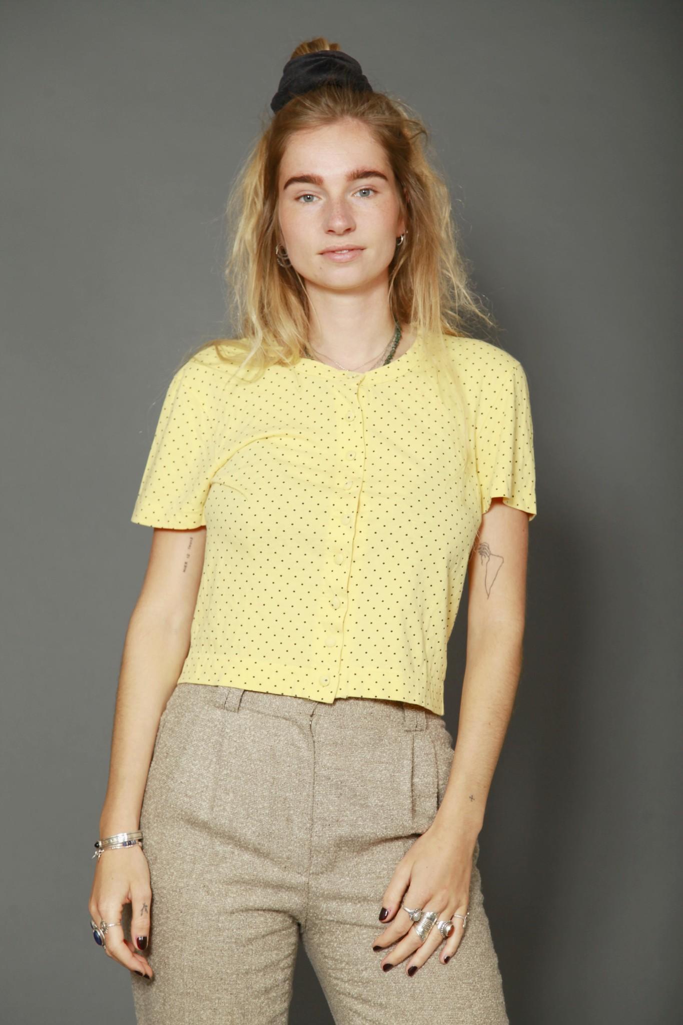 Yellow 80s polka dot top
