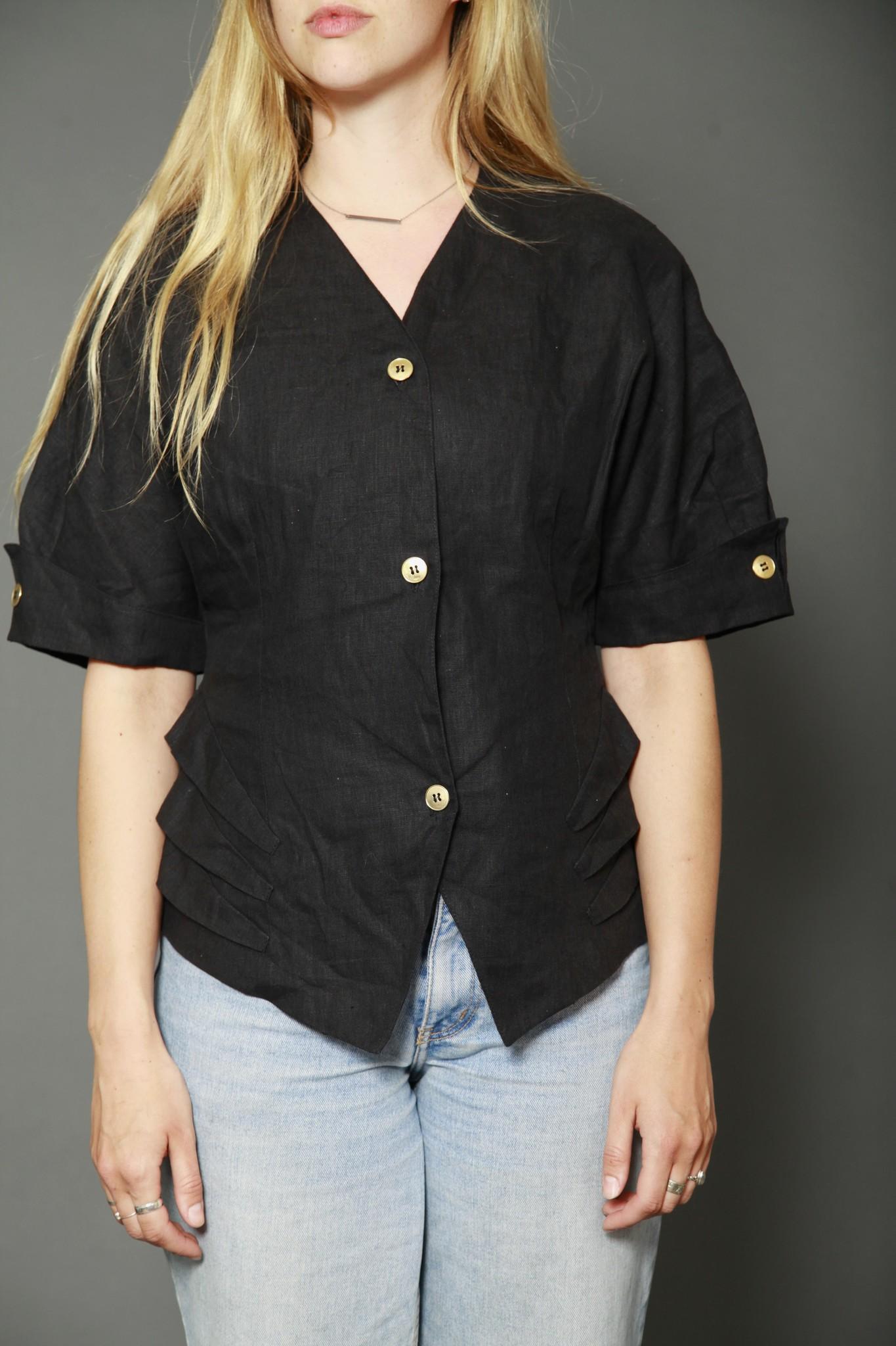 Linen 80s top in black