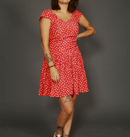 Red 80s dress with polka dot print
