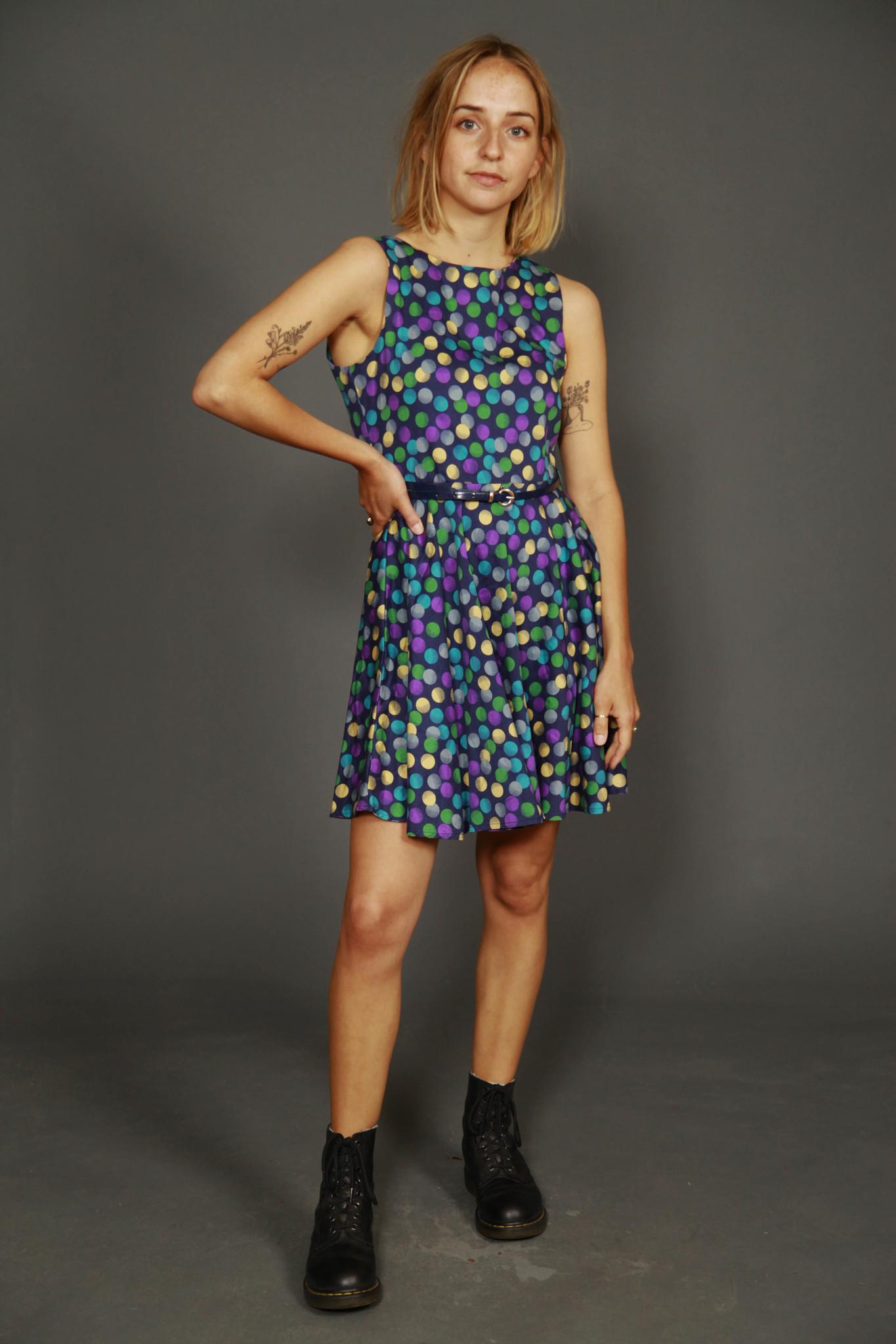 Sleeveless polka dot dress