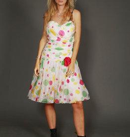 White 80s prom dress