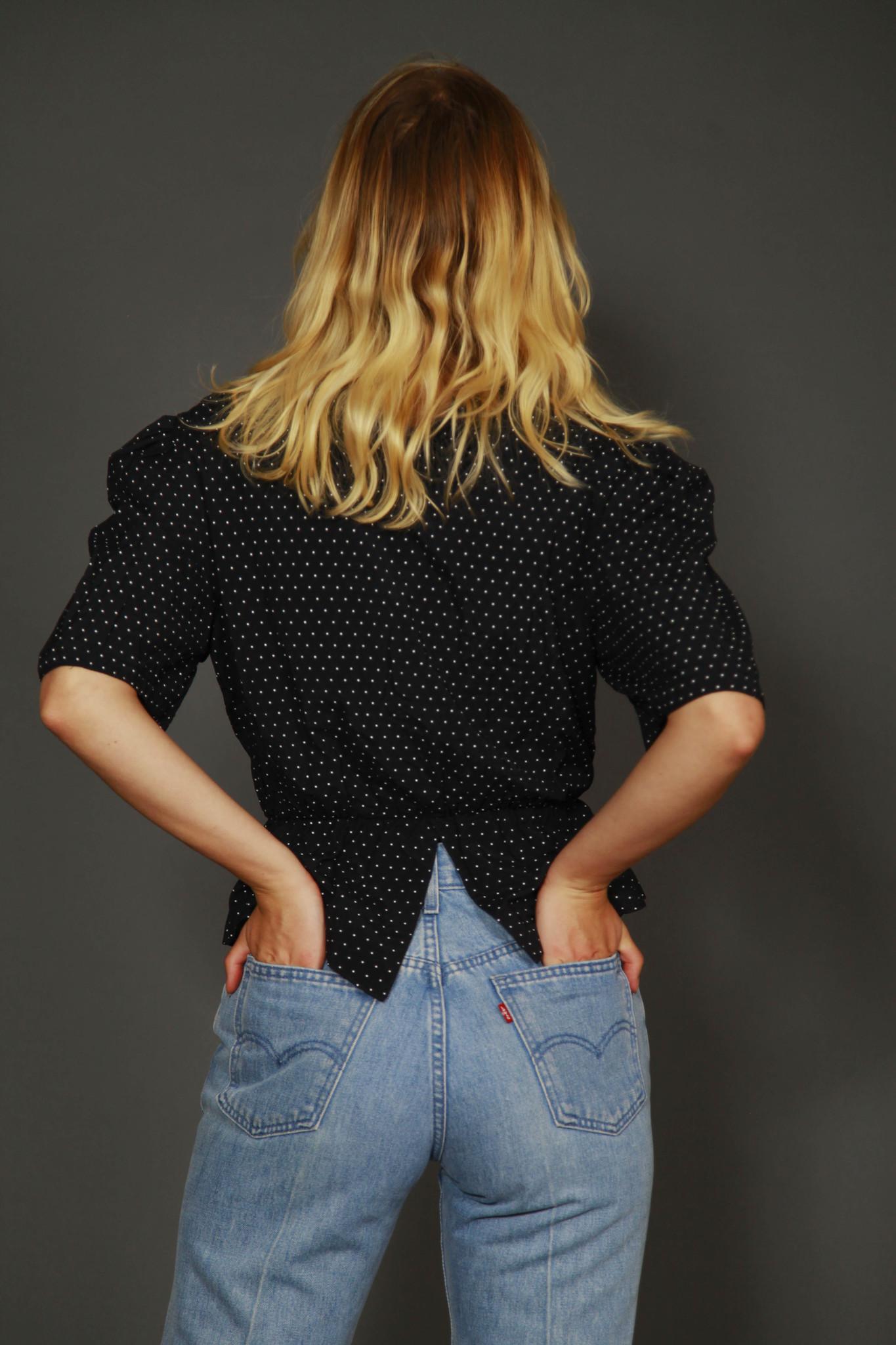 Black 80s peplum shirt