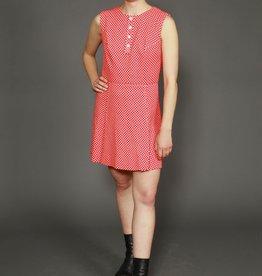 Red 70s polka dot dress