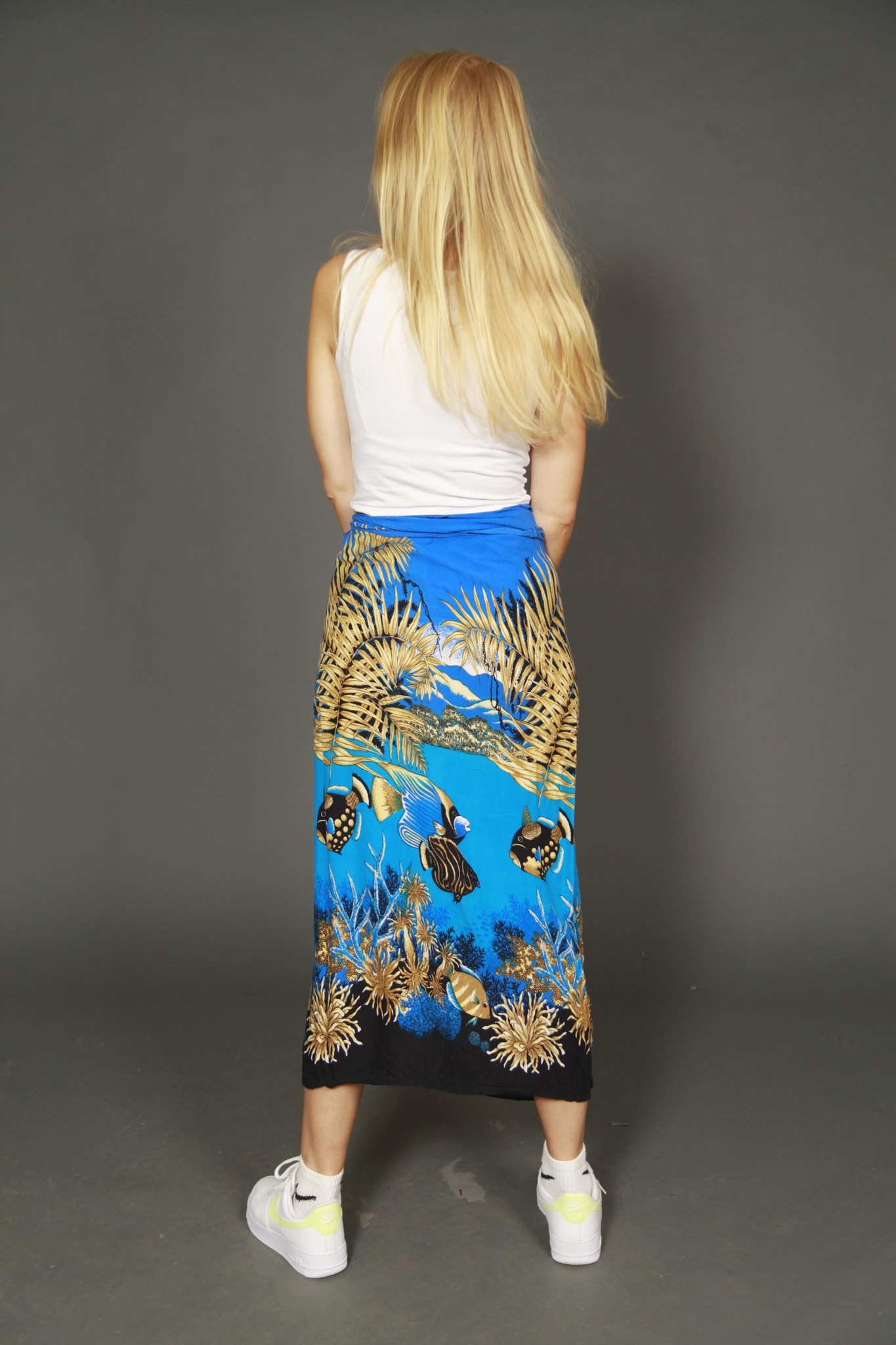 Printed 90s wrap skirt