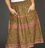 Romantic floral skirt in green