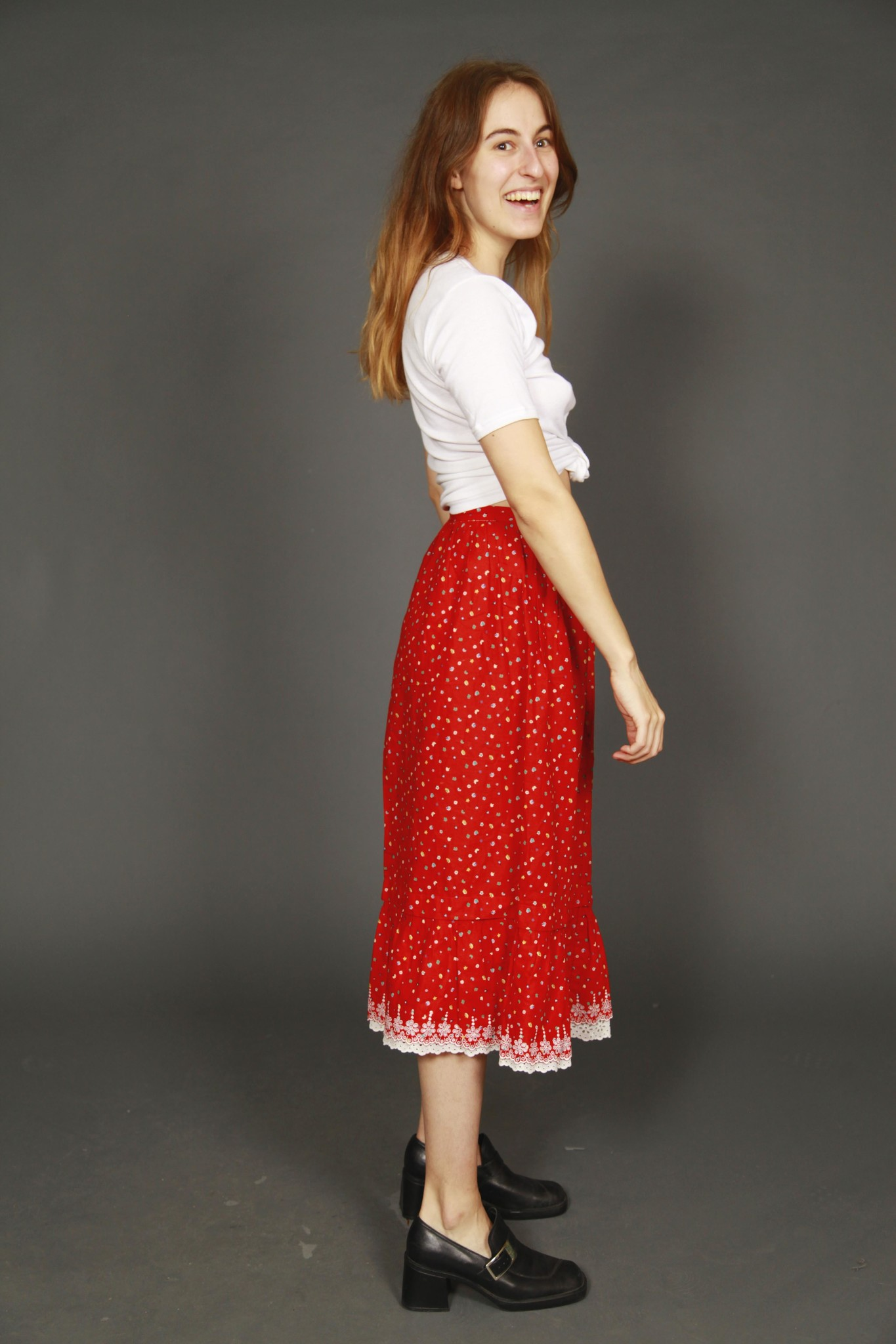 Printed 70s skirt in red